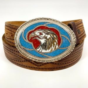 Handcrafted leather belt stone inlay Eagle buckle 36